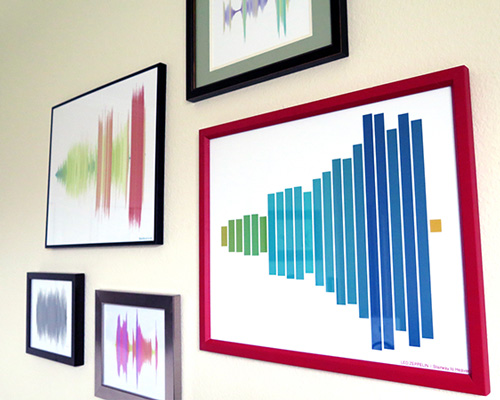 Tyler & Chelsea's sound wave gallery wall